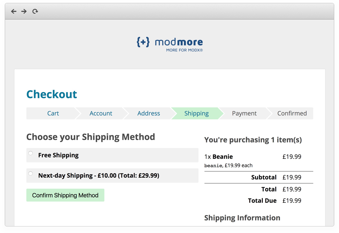 Screenshot of the default Commerce checkout with one product, on the shipping step.