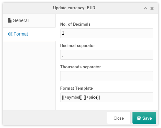 Currency window format setup