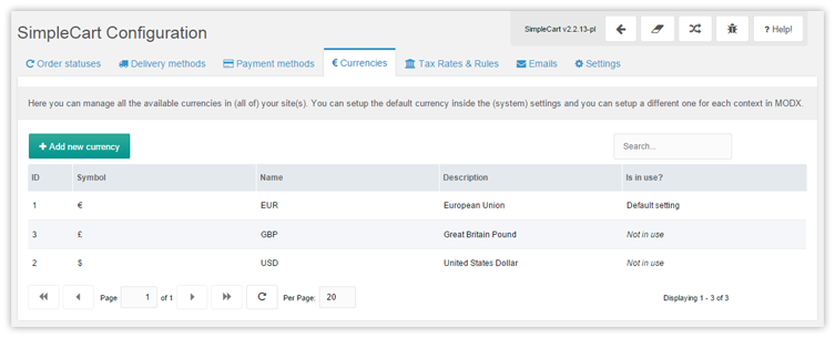Backend Manager Admin configuration currencies overview