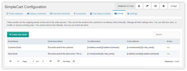 Default configuration for SimpleCart's confirmation emails