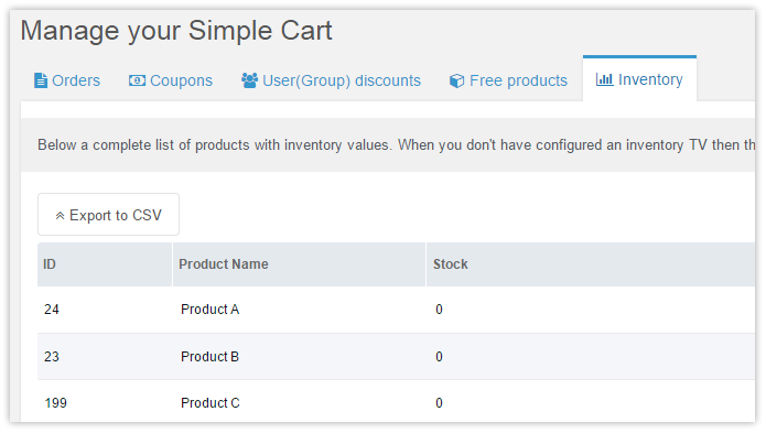 The SimpleCart stock overview with export feature