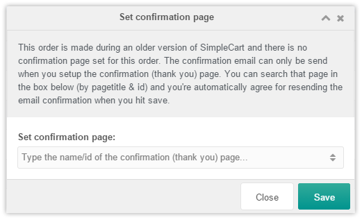 Order confirmation page window