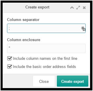 Export orders options window