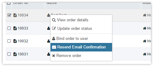 Orders resend confirmation email context-menu