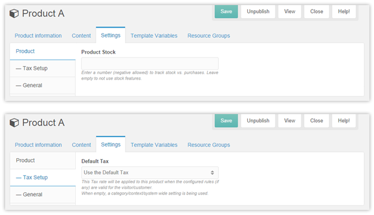 Product edit page settings and Tax setup