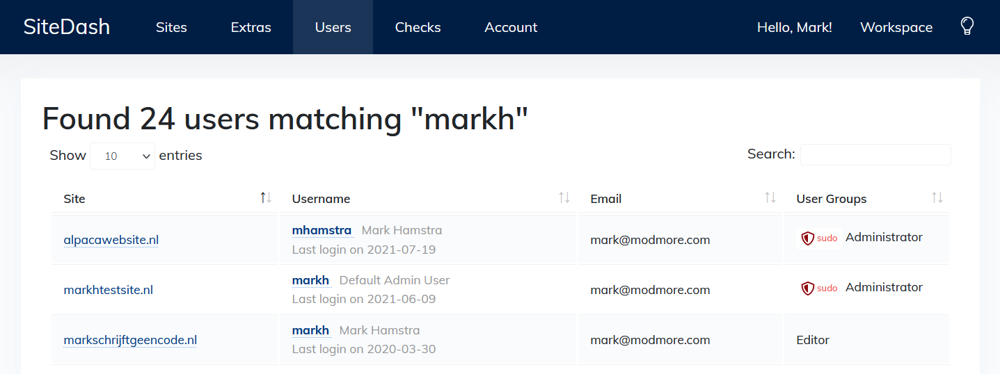 """Screenshot of the SiteDash dashboard, showing 24 users found for the query """"markh""""."""