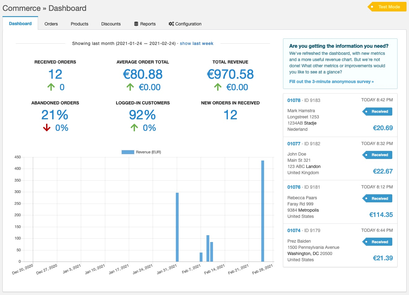 Screenshot of the refreshed Commerce dashboard with big statistics at the top, a list of recent orders on the right side, and a revenue chart in the bottom.
